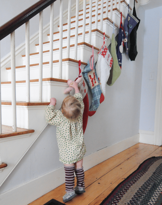 hanging stockings on stairs