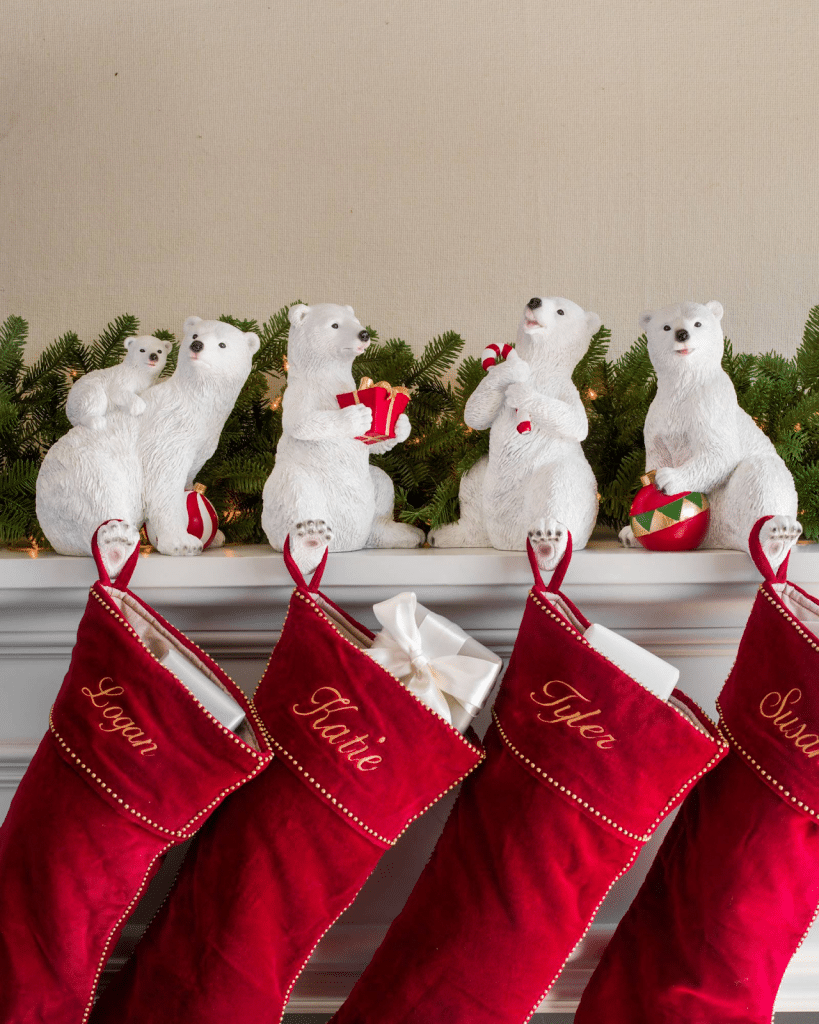 christmas stockings over fireplace